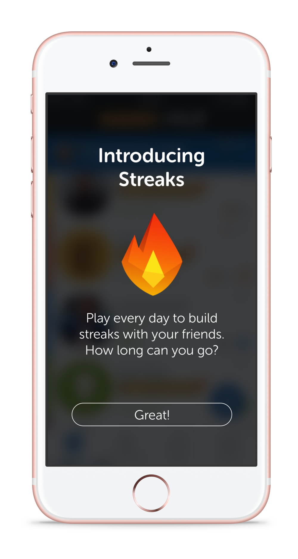 Streaks - There's no better way to show off your best Words With Friends buddy by having a 100 day streak to prove it. Streaks count the number of consecutive days you've played back and forth with a friend.Players care about their stats and win streaks, yet we didn't have a way to show if they had played each other every day for the past month. We believed that if we were to highlight this relationship, players would be excited to play every day.I worked on this feature initially for an internal hackathon project, then followed through to its release in live production.