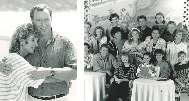 Judy with TV husband Ray Meagher (Alf Stewart, left) and with the  original cast of  Home and Away  (right)