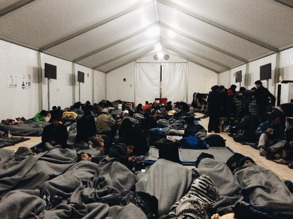 Refugees sleeping in the IRC due to ferry strikes.