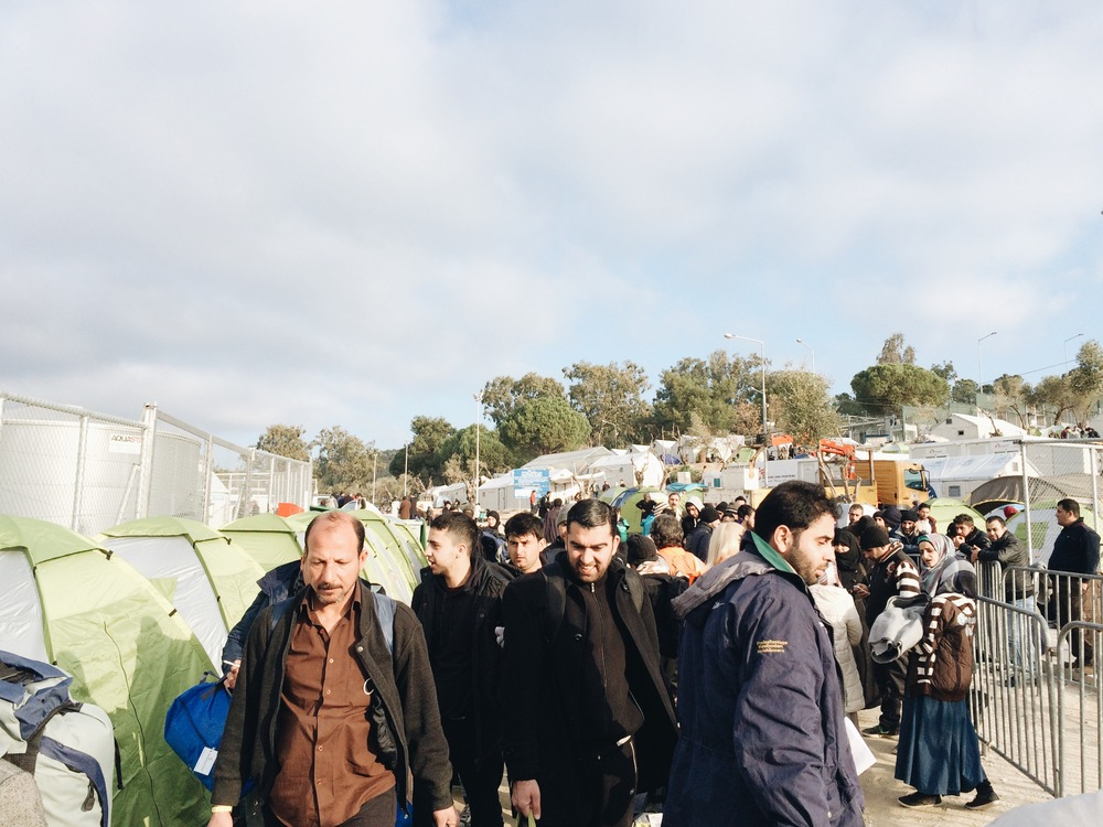 Walking into a crowded Moria in the morning, with the previous nights tents now part of there registration line.