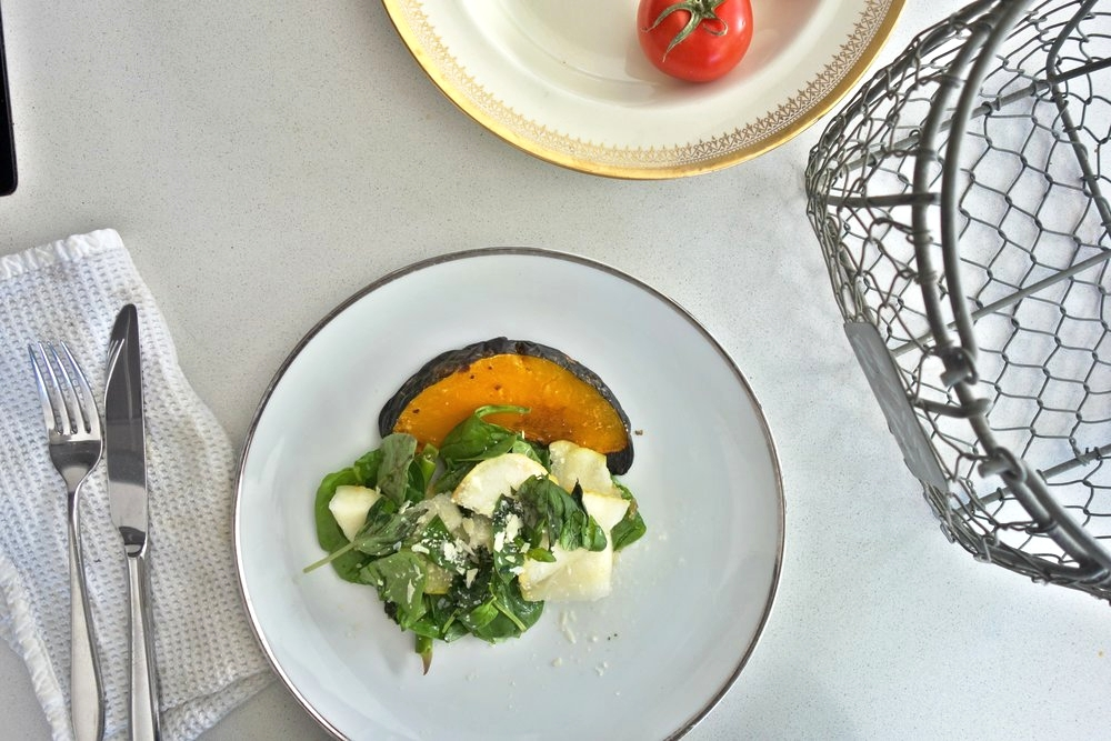 Roast Pumpkin with Greens, Pear & Parmesan