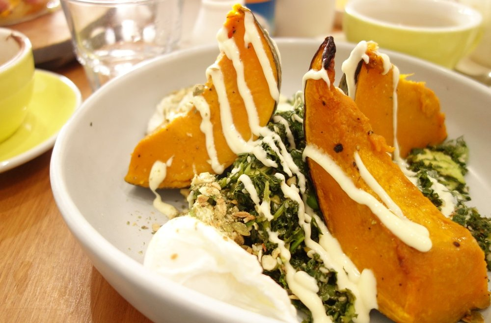 Pumpkin, Kale & Avocado Salad with Tahini Dressing