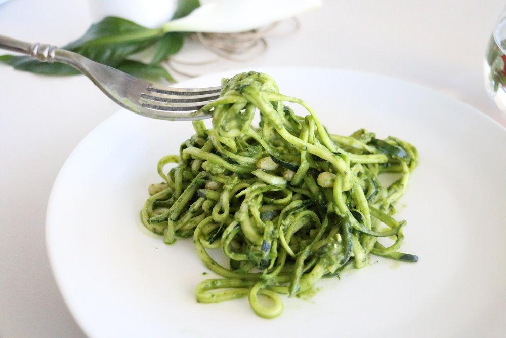 Zucchini Pasta with Basil Pesto - Gluten & Dairy Free