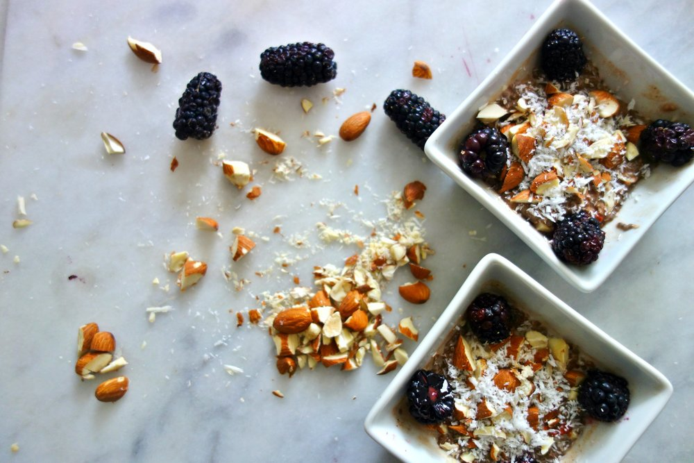 Chocolate Chia Puddings with Coconut, Blackberries & Almonds