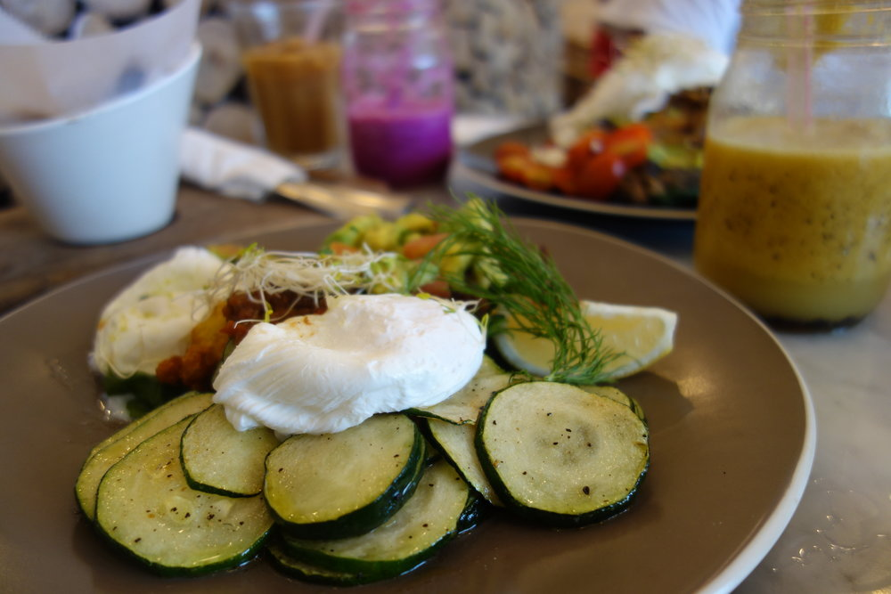 Grilled Peppered Zucchini with Guacamole & Poached Eggs