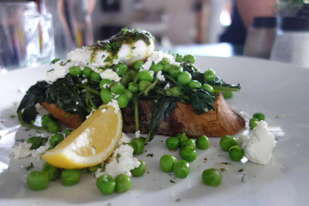 Smashed Peas, Feta & Pesto with Poached Eggs on Toast