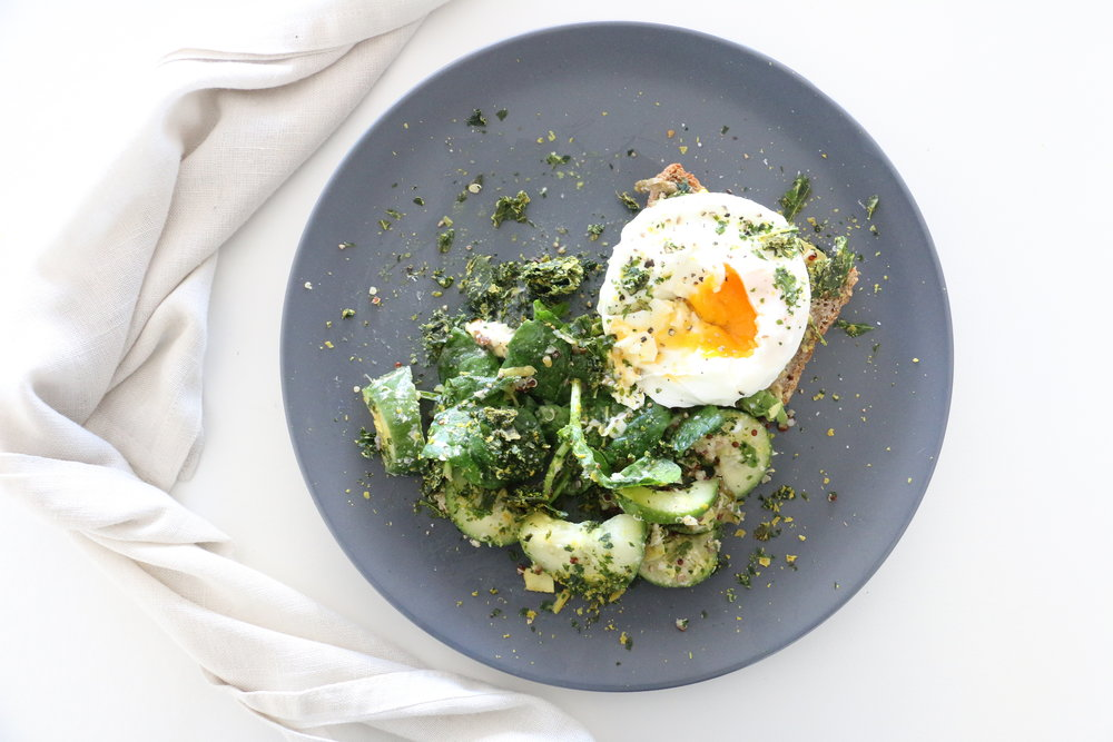 Poached Egg on Toast with Cheesy Kale - Dairy Free