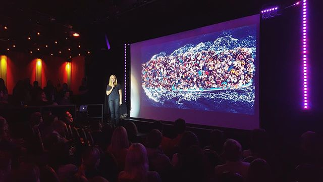Yesterday @hannawekell talked about #refugeephones at @pechakucha_gbg. It was crowded, awesome and a great way to spread awareness! Every phones matters! #refugeephones #humanity #welcomerefugees