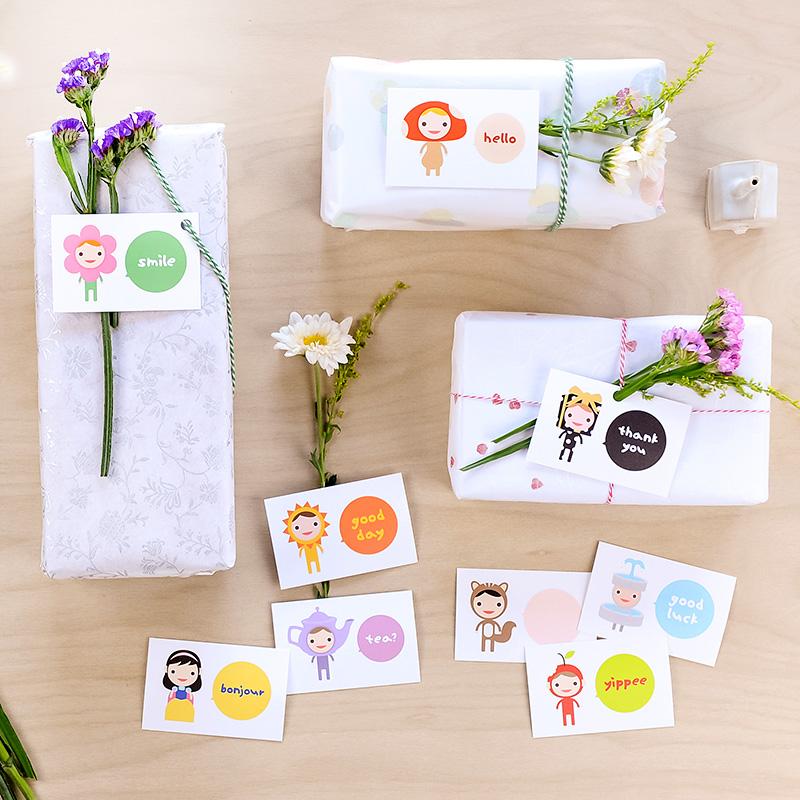 happy mini hello card set of 9 tofufu we make modern wall art