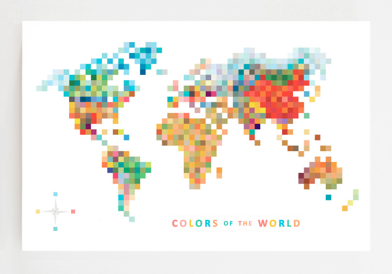 Pixel map colors of the world tofufu we make modern wall art pixel map colors of the world tofufu we make modern wall art fun paper goods toys gumiabroncs Gallery