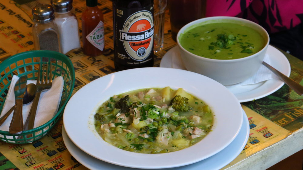 Vivacious warm soups with which to welcome spring, pictured with Flessa Bräu's lively Manadarina Lager, made with fresh Mandarina Bavaria hops. All are available to go, bring some along to go flower gazing, or to a pagan equinox festival!