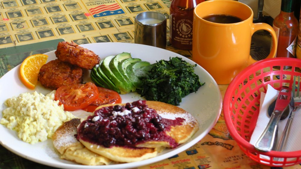 "Good Morning!   A Vegan version of our Deuces Wild breakfast platter, teamed up with a freshly Aeropress-ed cup of Bonanza's ""Sasaba"" single estate coffee...from the Guji Zone of South Oromia, Ethiopa :D"