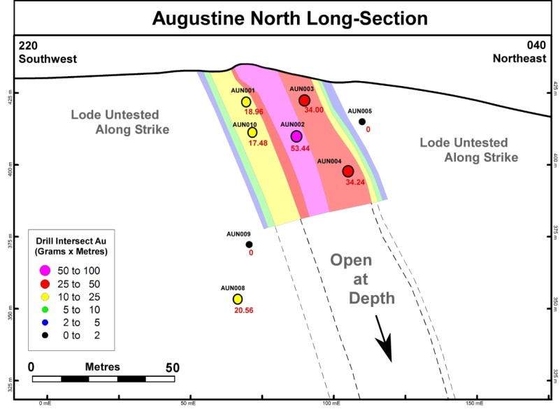 Figure 2:  Augustine North section displaying an interpreted high-grade shoot dipping to the north-east.
