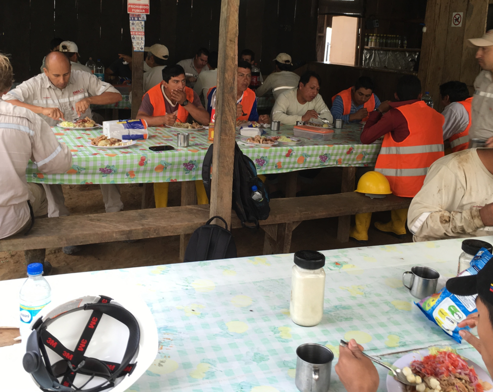 ENSA workers enjoying lunch together as a team on site at Cascabel.