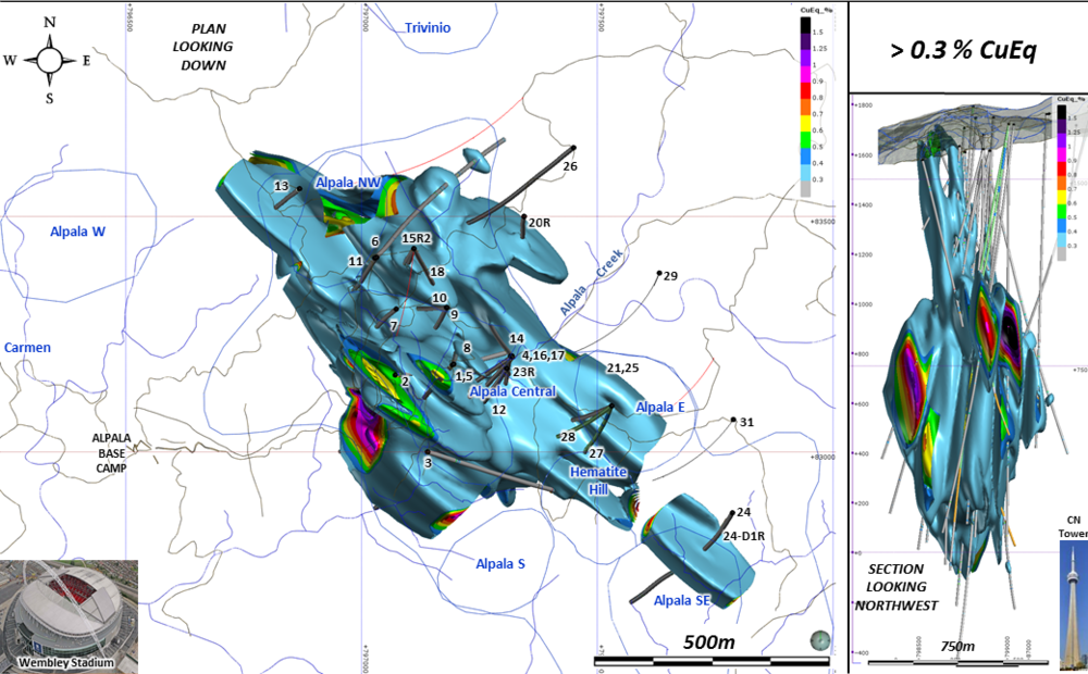 Figure A : Exploration target over the area drilled to date. Initial 3D modelling and grade shell interpolants have outlined an approximate exploration target at Alpala that ranges from 729Mt at 1.06% copper equivalent, using a cut-off grade of 0.4% copper equivalent, to 969Mt at 0.92% copper equivalent, using a cut-off grade of 0.3% copper equivalent. These estimates equate to an endowment of between 7.7-8.9Mt of contained copper equivalent. Low-tonnage, very high-grade Exploration Targets also exist at elevated cut-off grades of 0.7% and 1.0% copper equivalent (Lower Insets below).