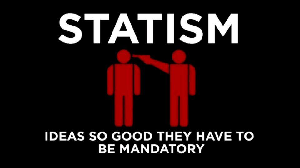Statism is the belief that the state should control either economic or social policy, or both. It is the opposite of Anarchism.   Anarchism advocates societies based on voluntary institutions & holds the state to be undesirable, unnecessary, and harmful.