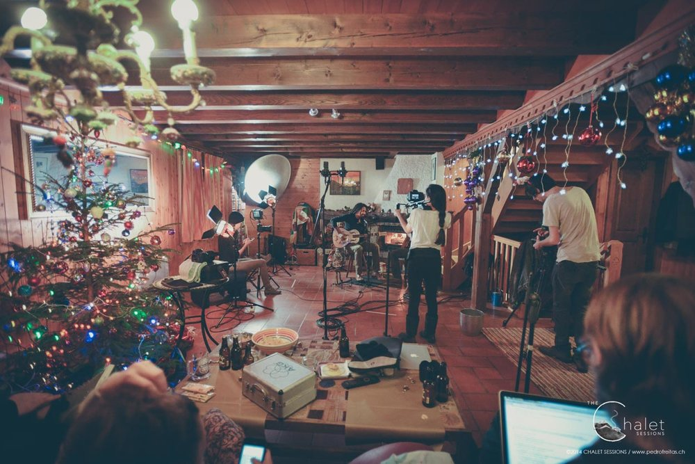The Two Session - wide view of team busy on set