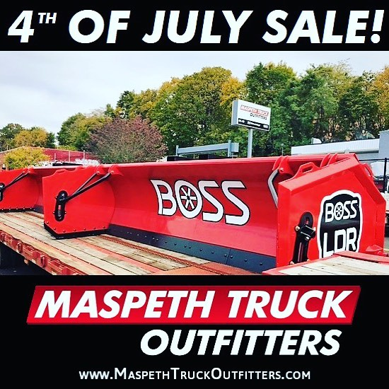 SUMMER IS HERE!!! Don't miss out on our SPECIAL 4th of July Sale where you can get up to 15% off your purchase of a brand new BOSS Loader Pusher! #JulySale #MaspethTruckOutfitters #TruckOutfitters #BOSS #SnowPlow #SnowPusher #MTO