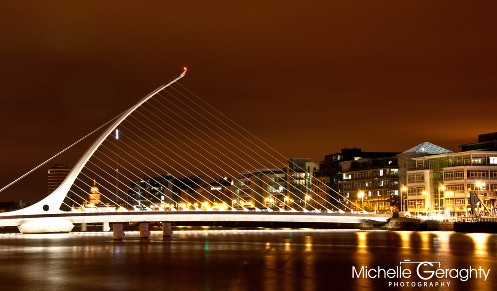Sunset over Samuel Beckett Bridge, Dublin, Ireland