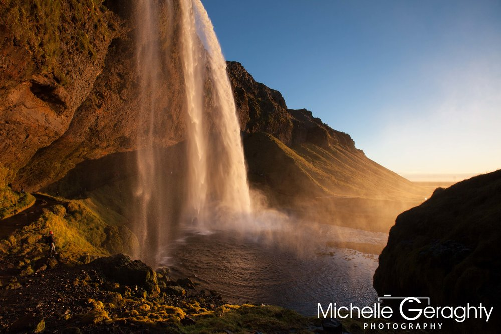 Sunset at Seljalandsfoss Waterfall, Iceland