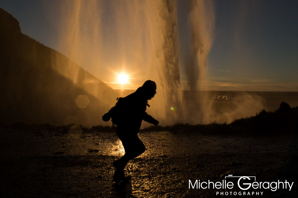 Sunset under Seljalandsfoss Waterfall, Iceland
