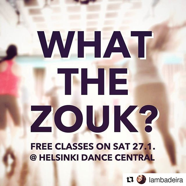 WTZ?!? FREE dance classes in Helsinki TODAY!  Brazilian ZOUK is a popular partner dance that has made its way from Brazil to dance floors and the hearts of people all around the globe - since 2010 also in Finland! Our Finnish zouk community is growing and known everywhere for its talented dancers and especially for its kind & welcoming atmosphere.  Our friends in the Helsinki area, here comes a challenge for you! This Saturday come try out our free dance classes at the new Helsinki Dance Central in Sörnäinen/Kalasatama 😊 Yes, even you who's got two left feet (you just need to show up!) as well as you who may already dance something else! Our zoukers, lambazoukers, mzoukers - I challenge you try the style you're less familiar with!  Two free classes on 27 January (try both!!!): 15:30-16:30 Brazilian zouk / Rio style with Freddy & Andressa 17:30-18:30 Lambazouk with Jaakko & Noora  If you try and don't like it, no worries - a least after that you've for sure gotten a good hug this weekend 🤗 If you do like it, there's also a party in the evening to try what you've learned or just to meet some fun people!  Challenge accepted? ••• #whatthezouk #wtz #free #danceclass #zouk #brazilianzouk #lambazouk  #lambazoukfinland  #freetryout #dance #challenge #tanssi #tanssiniloa #parastaikinä #ilmainen #tanssitunti #halvathuvit #helsinki #sörnäinen #kalasatama #helsinkidancecentral #azembora