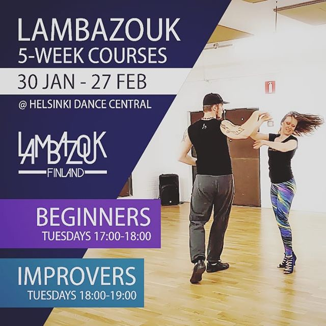 Tomorrow we start two new courses💃🕺On Tuesdays 30 Jan - 27 Feb at Helsinki Dance Central: 💎Lambazouk beginner course at 17-18. 💎Lambazouk improver course at 18-19. Send us a message to secure your spot✌We are looking forward to sharing the positive energy of this beautiful dance with you 🤗 Feel free to share this with your friends! •• #lambazouk #lambada #lambazoukfinland #helsinkidancecentral #zouk #brazilianzouk #dance #danceclass #socialdance #tanssi #paritanssi #tanssiniloa #saajakaa #tanssiporukka #kevät2018 #tanssikurssi #tanssijat #suomitanssii #Helsinki