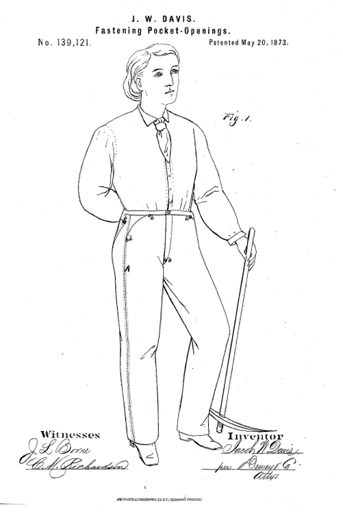 Patent Illustration for Riveted Pants from facweb.cs.depaul.edu.