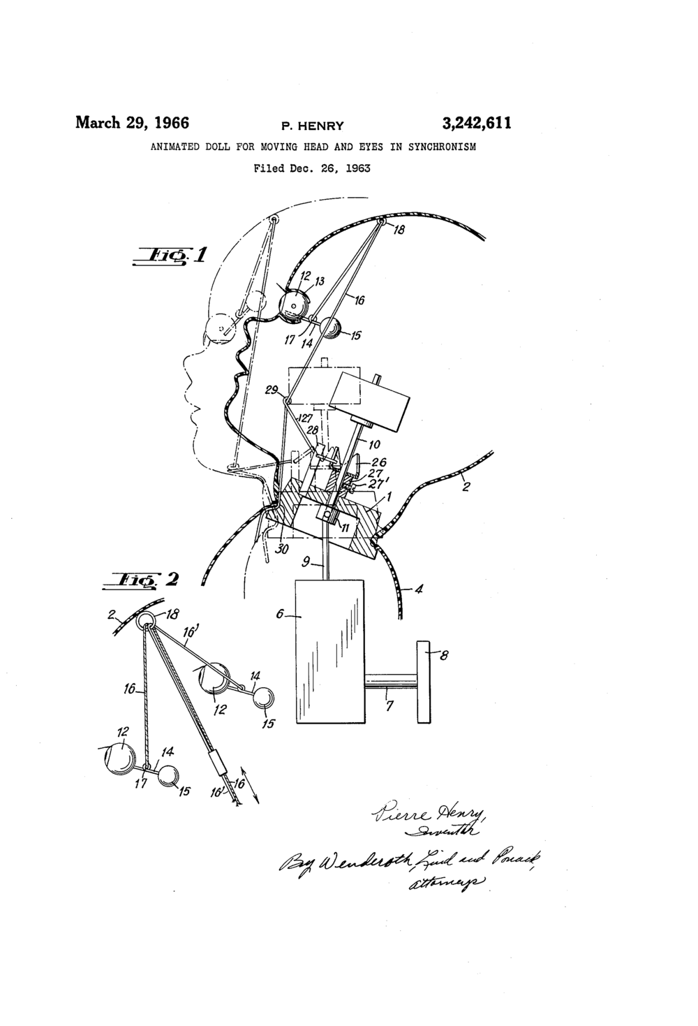 "Patent illustration for an ""Animated Doll;"" From Google Patents."