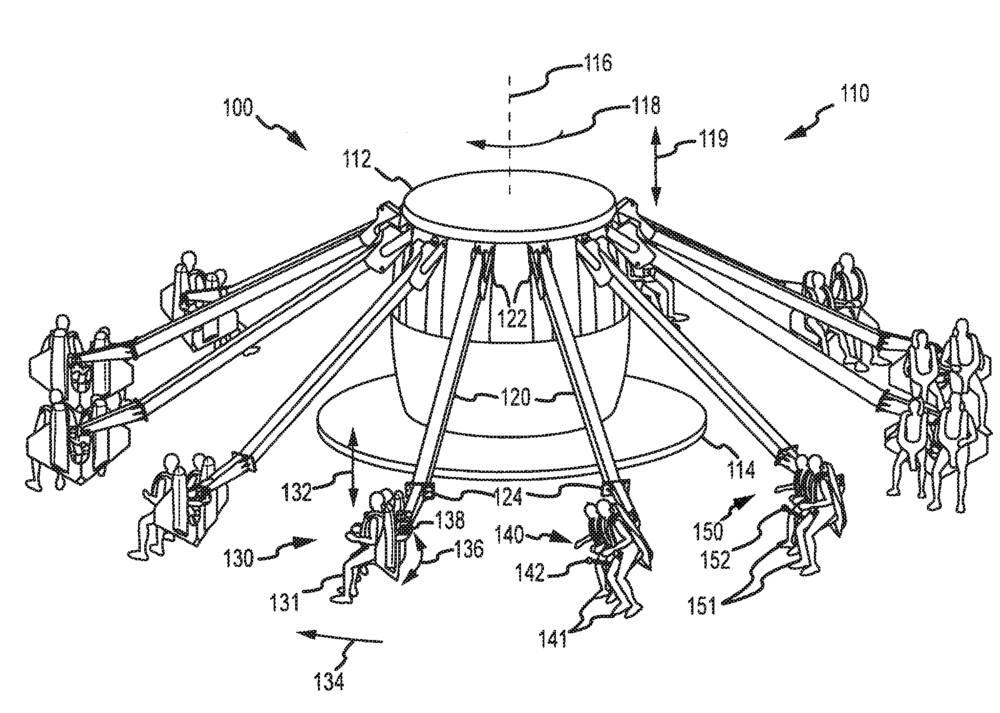 "Patent Illustration for a ""free flying"" ride."