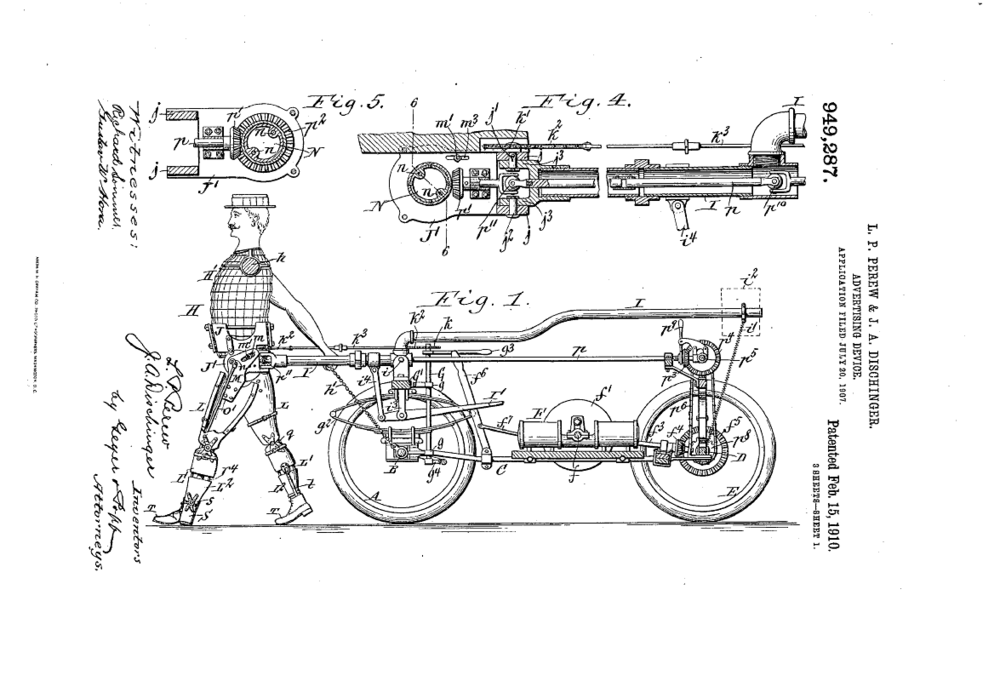 Patent Illustration for an Advertising Device from 1907 (Via Google Patents).