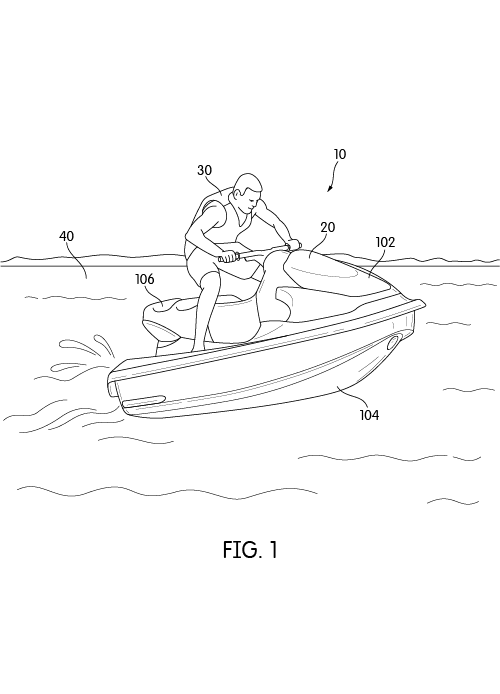 Patent Illustration of Person Driving a Personal Watercraft.