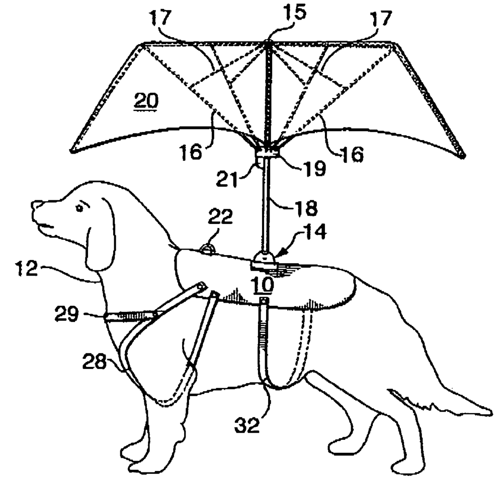 "Patent illustration for an ""animal umbrella."""