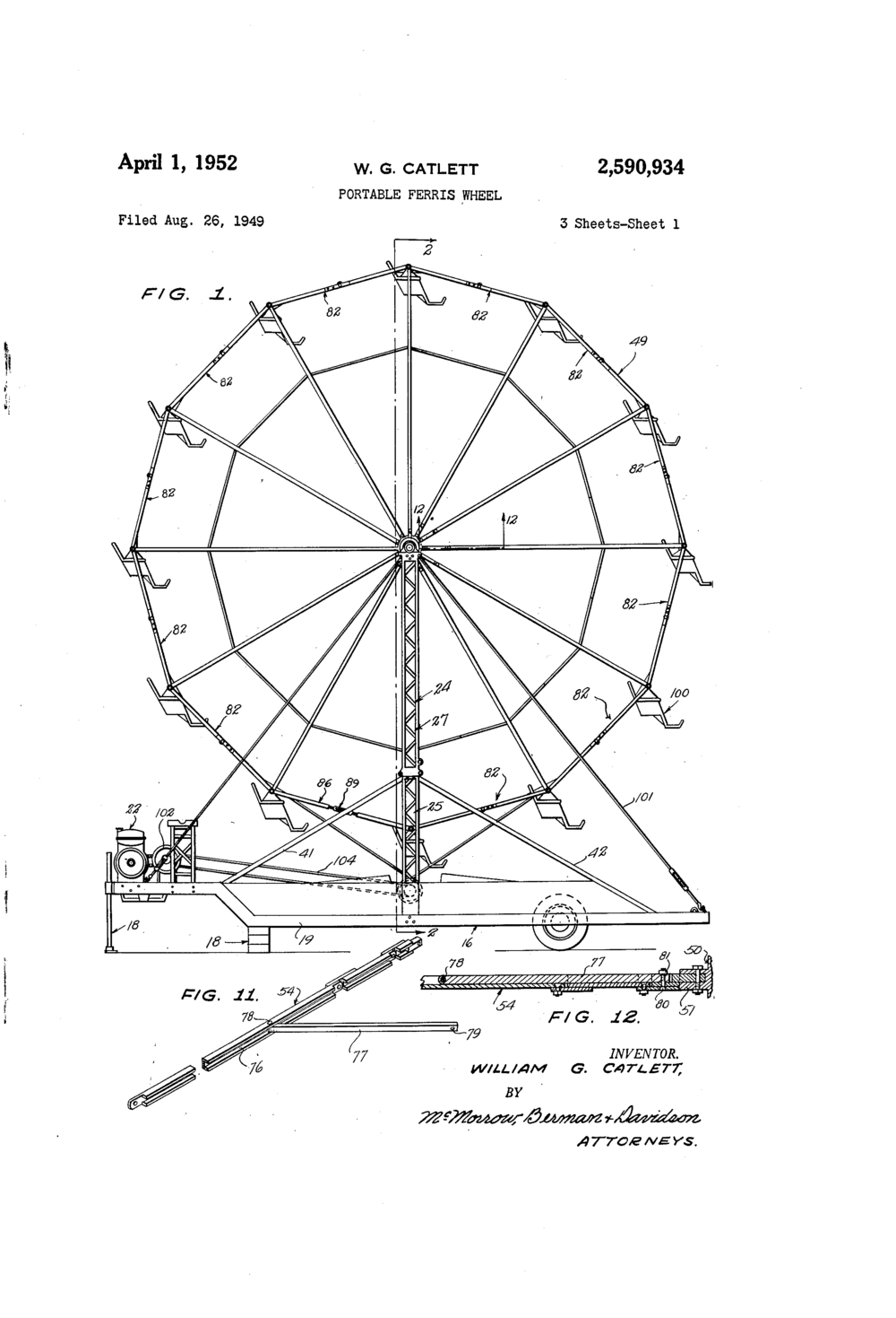Portable Ferris Wheel patent illustration from  patents.google.com