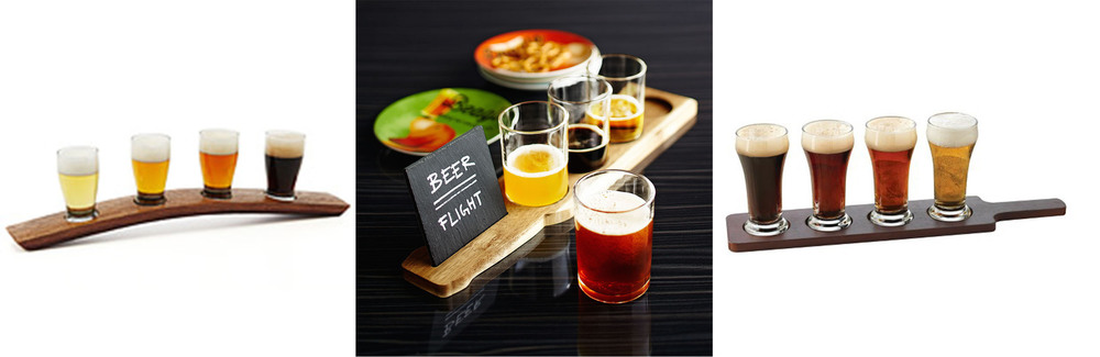 Beer flights from Uncommon Goods, Pier 1, and Target