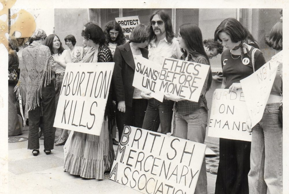 More than 600 students from all over England marched from the British   Medical Association headquarters in Tavistock Square, London, to Downing   Street in June 1977 to protest against abortion. The march was organised   by the Society for the Protection of Unborn Children. The British   Medical Association passed a motion at its Annual Conference in July   1977 opposing legislative measures against abortion.