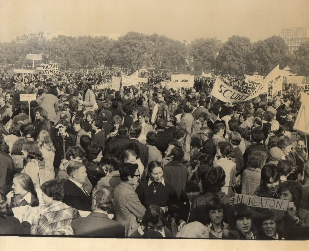 Anti-abortion rally on 28th April, 1979, organised by the Society   for the Protection of Unborn Children, in London's Hyde Park is   supported by tens of thousands from all over Britain.