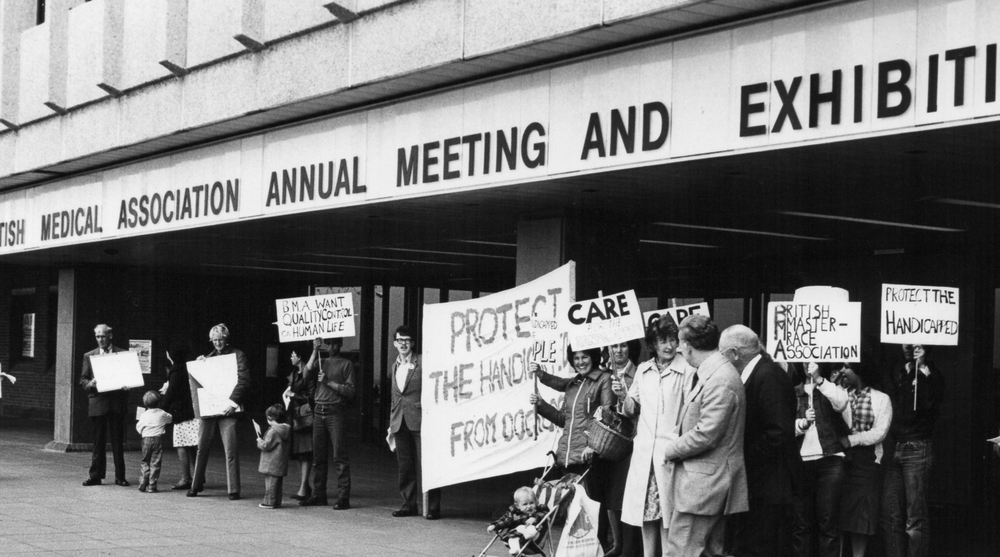 SPUC protests at the British Medical Association annual conference   against the growing practice of the starvation to death of newborn   disabled babies as well as the increasing targeting of unborn disabled   babies for abortion.