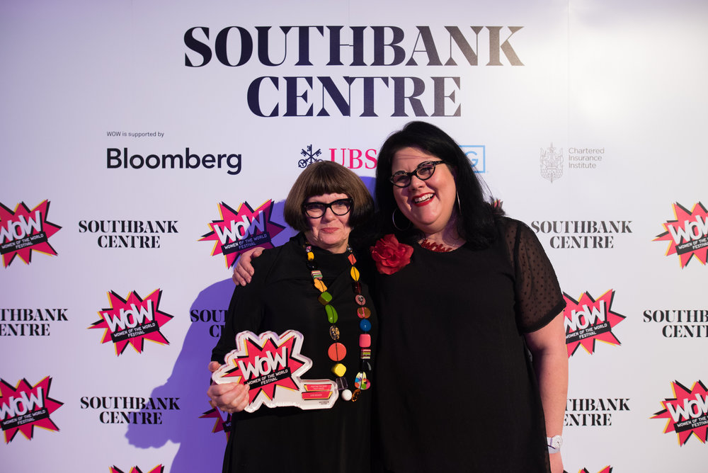 Lois Weaver and Amy Lamé, photo by Alice Boagey. WOW Women in Creative Industries Awards at Southbank Centre's WOW Women of the World festival, 7-11 March 2018