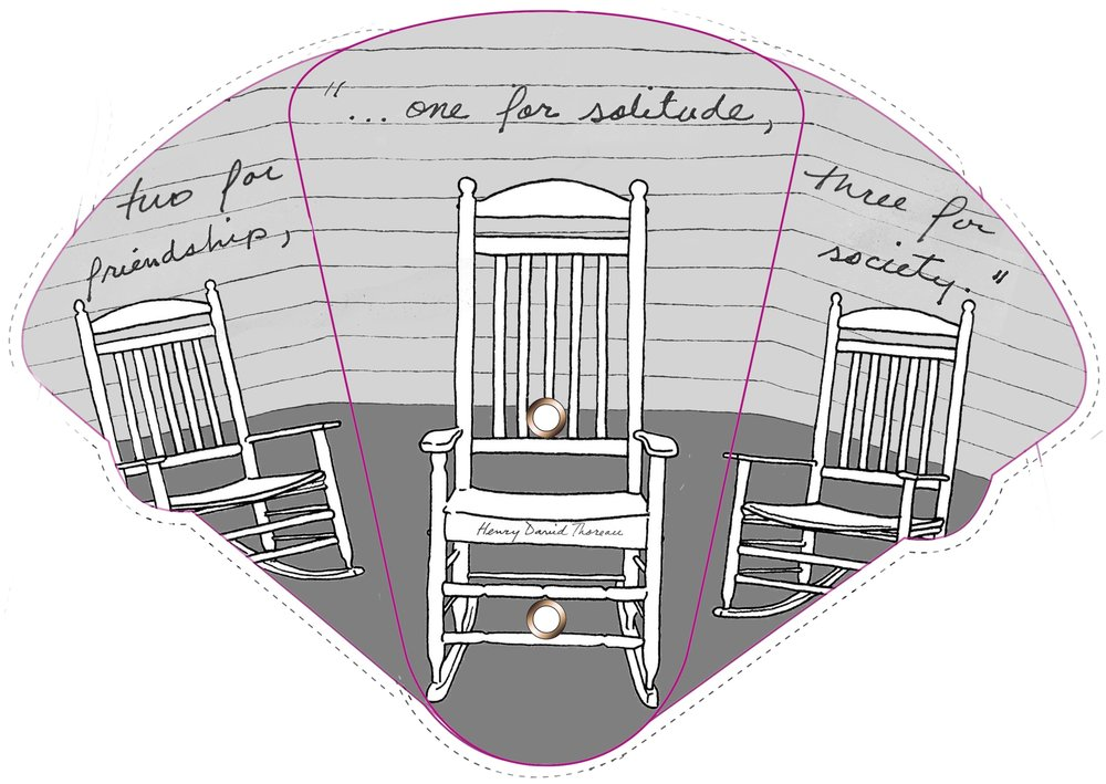 the front side of a fan designed for porch sittings, created by Jo palmer