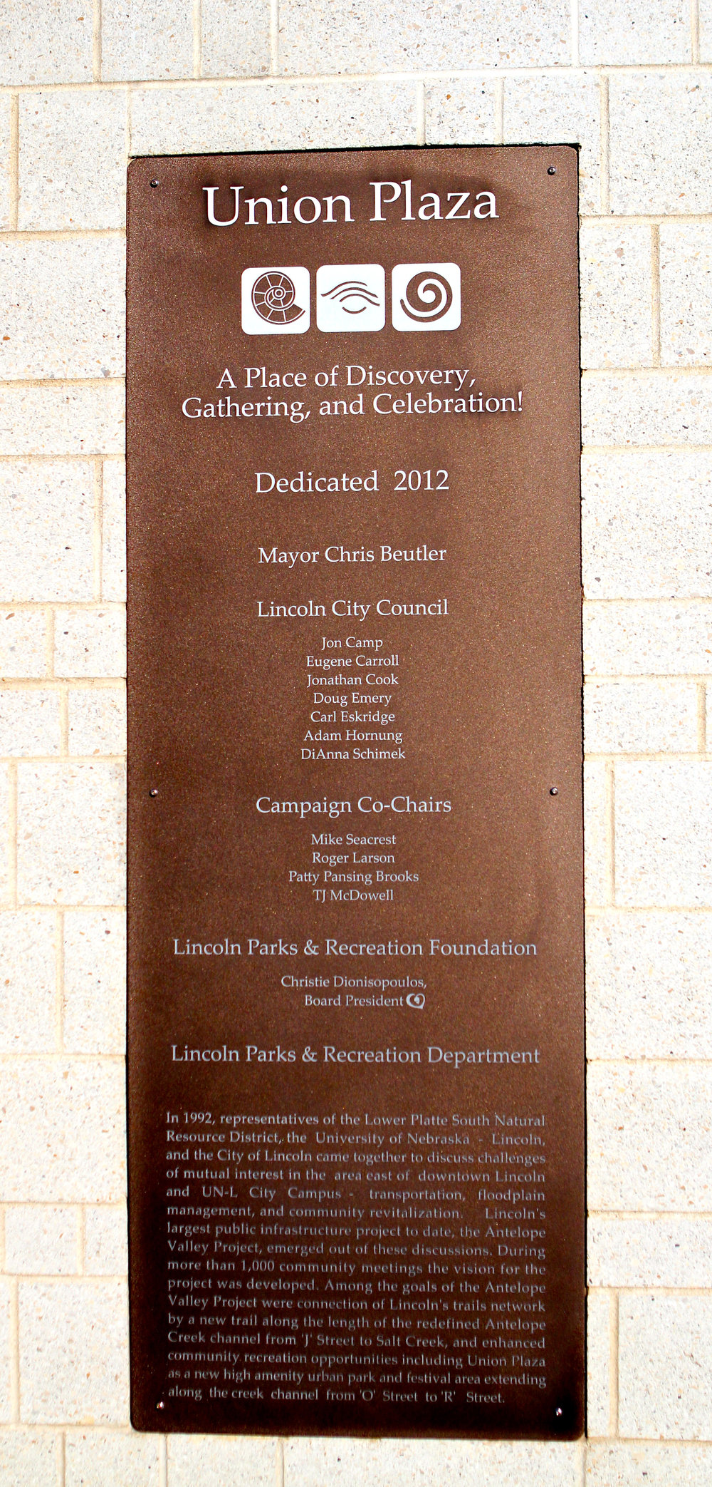 Union Plaza Plaque