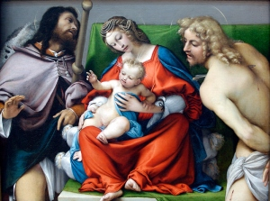 Lorenzo Lotto, The Virgin and Child with SS. Roch and Sebastian. The National Gallery of Canada.