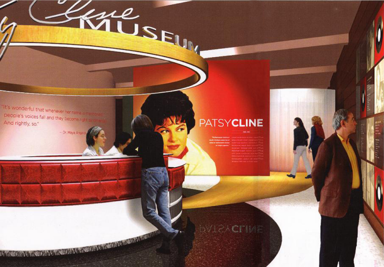 In 2007, Carter Burton collaborated with internationally renowned exhibit designers Ralph Applebaum Associates to imagine what a museum would look like in downtown Winchester, VA. Celebrating Patsy Cline has purchased many of Patsy Cline's belongings to protect them for use in a dedicated museum. They have been loaned to the Museum of the Shenandoah Valley for a temporary exhibit and to raise awareness for the cause.