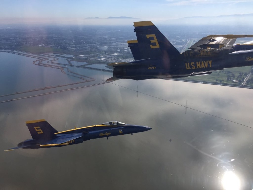 The Blue Angel Delta en route to San Francisco from NAF El Centro. Photo by LCDR Joe Schwartz.