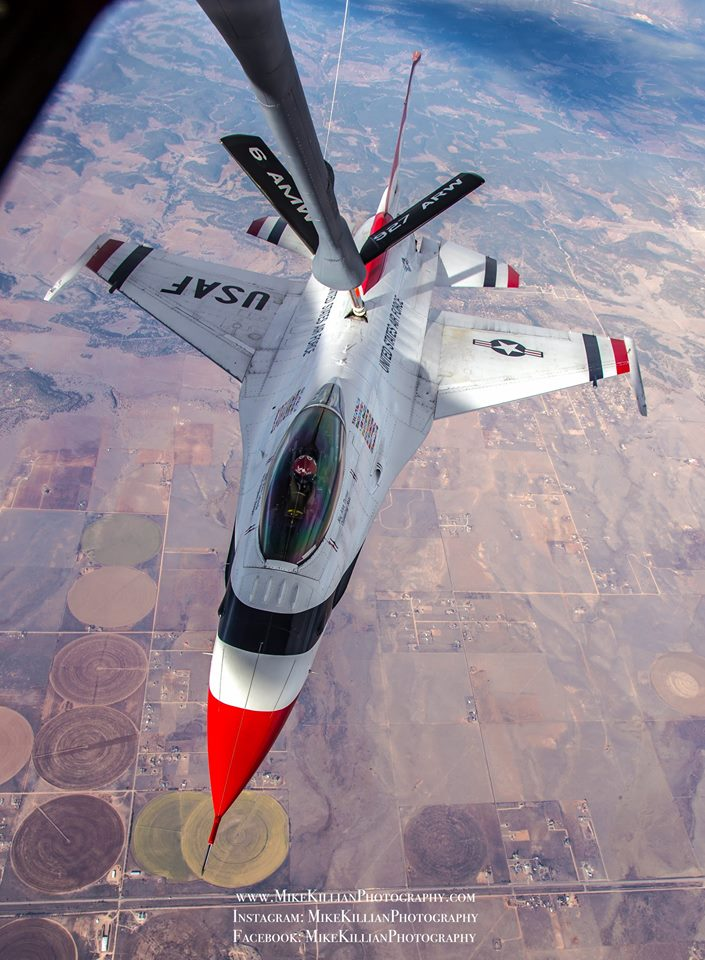 An F-16 Fighting Falcon from the USAF Thunderbirds receives 5,000 pounds of fuel from a KC-135 tanker out of MacDill AFB. Photo courtesy of Mike Killian.