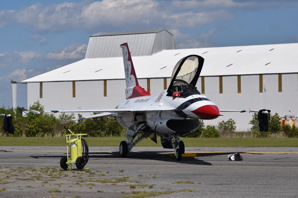 A red, white, and blue F-16 Fighting Falcon sits poised on the ramp in Lake City, Florida Thursday.
