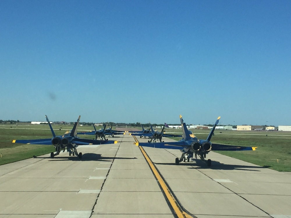 Fat Albert waits in line to depart Sioux Falls, South Dakota behind the Delta formation. Photo courtesy of Captain Katie Higgins.