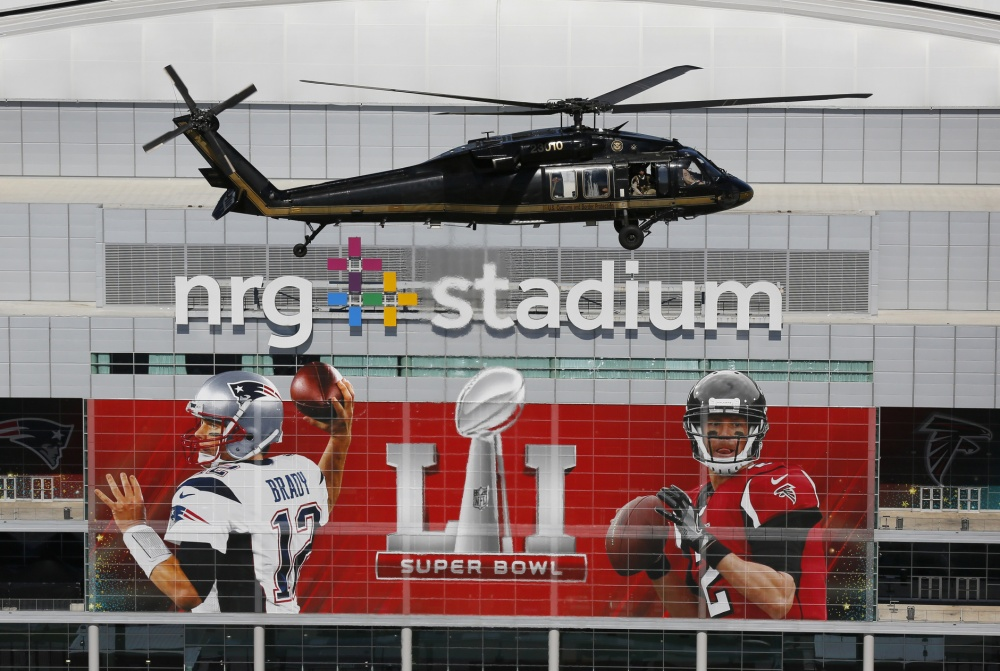 A Black Hawk helicopter patrols the skies over Super Bowl 51 in Houston last February.