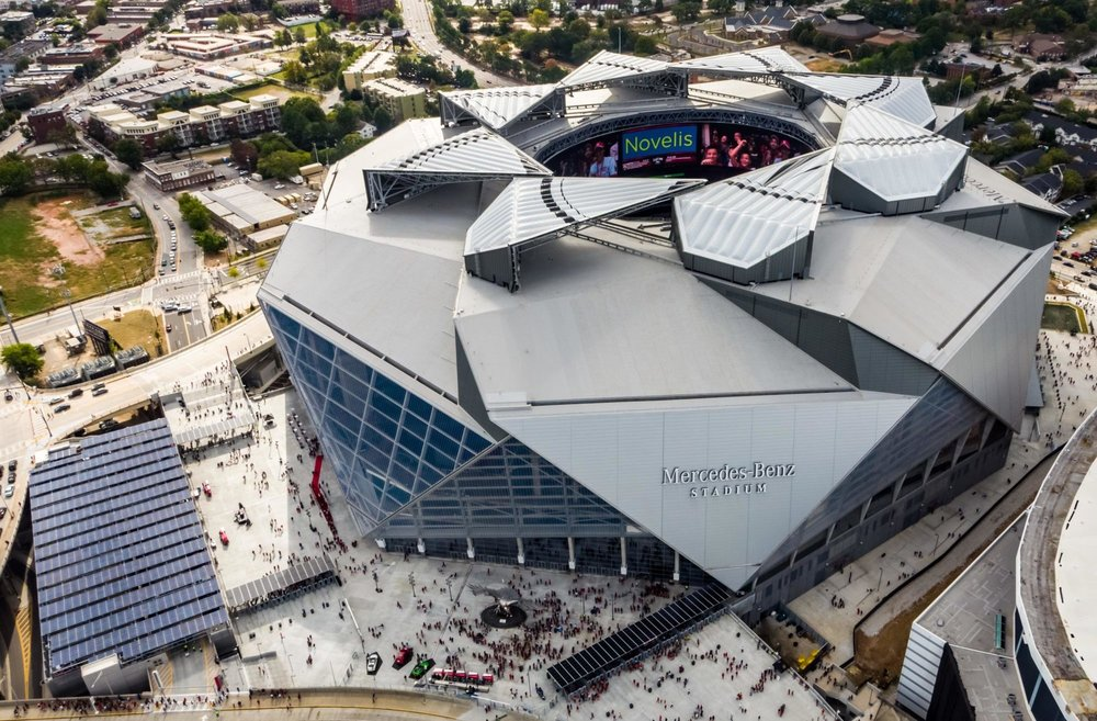 Mercedes-Benz Stadium, host of Super Bowl 53.