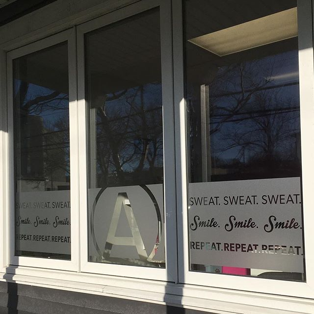 Sweat. Smile. Repeat! This front window decal for @afitnessnl lets you know what they're about right away. Their fun and positive attitude shines through in everything they do! Thanks ladies (and Mark), we'll see you this week for a workout! 😃🔥💪💕 #fitfam #fitnessmotivation #afitnessnl #bootycamp #fitnessmarketing #marketing #design #neon #thebestclients #sweatsmilerepeat #challengeyourself #yyt #stjohns #newfoundland